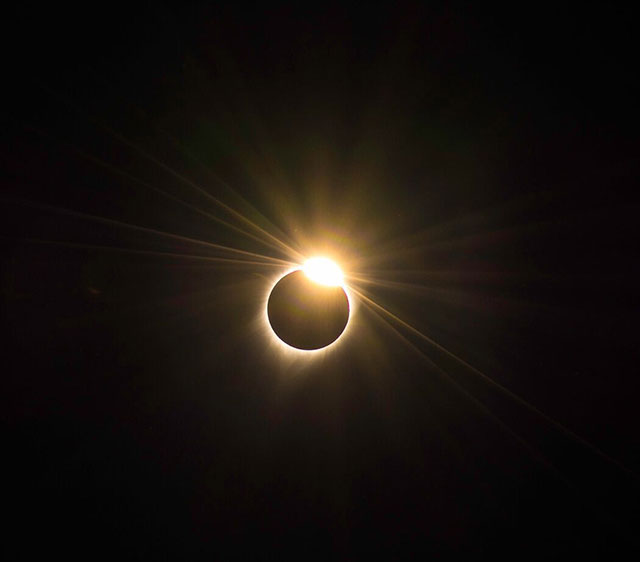 The diamond ring during of the Great American Eclipse of 2017. Photo by Christopher Mendoza.
