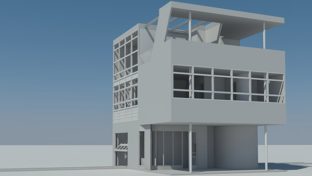 Digital model of Aluminaire House designed by architect Albert Frey, rendered for the exhibition by architecture student Kyle Ng.
