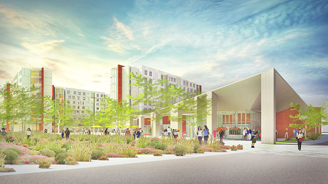 The Student Housing Replacement Project consists of two eight-story mid-rise towers that contain 980 beds. A dining commons facility is also part of the complex.