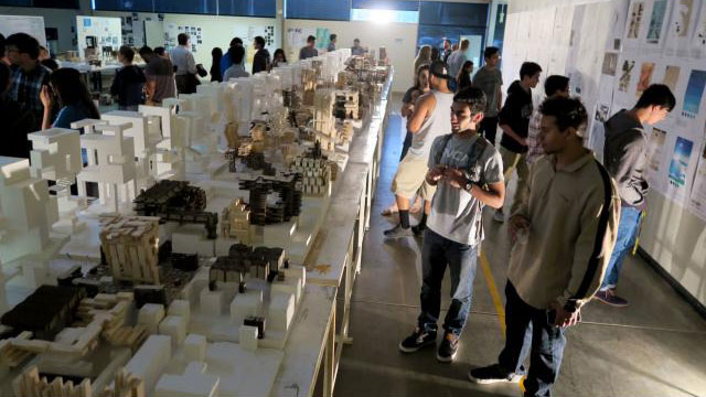"First-year architecture students at the 2016 Fall Interim, the quarterly exhibition organized by the Department of Architecture showcasing the ""best of the best"" student works from the preceding quarter."