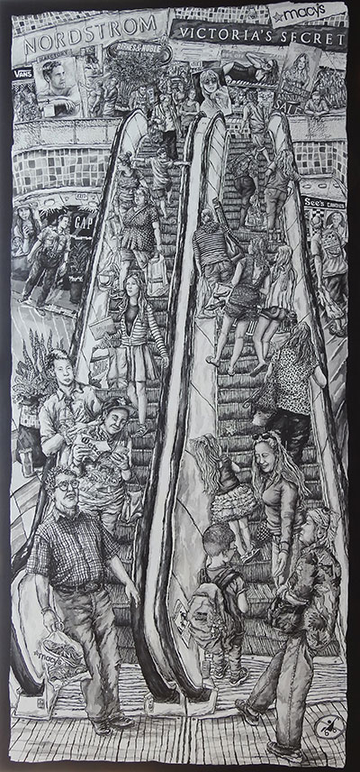 "Jeff Reed's ""The Escalator,"" ink on wood panel."
