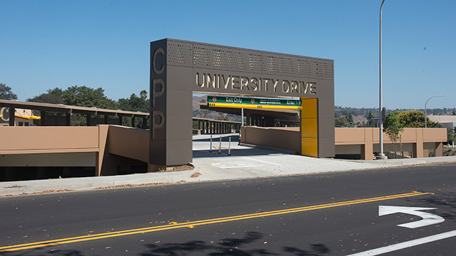 University Drive entrance at the new Parking Structure.