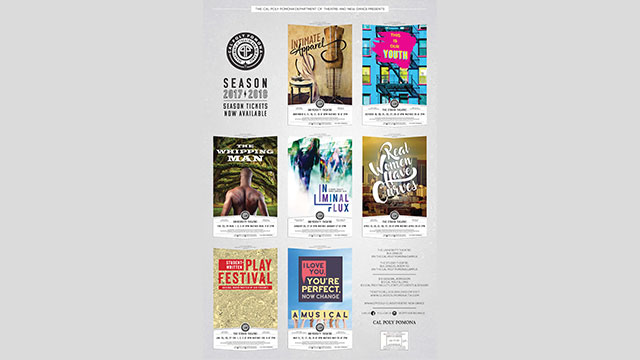 Department of Theatre and New Dance 2017-2018 season poster.