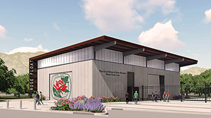 Rendering of the Cal Poly Pomona Rose Float Lab and Complex designed by the architecture firm Gensler.