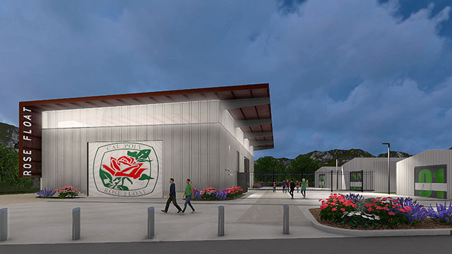 Rendering of the Cal Poly Pomona Rose Float Lab and Complex designed by the architecture firm Gensler and set to break ground in 2018.
