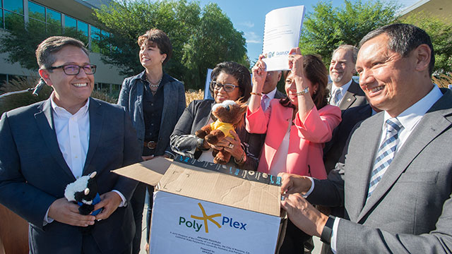 University President Soraya Coley joins County Supervisor Hilda Solis, Pomona Mayor Tim Sandoval and Fairplex CEO Miguel Santana in a bid to recruit Amazon to locate to campus and the Fairplex.