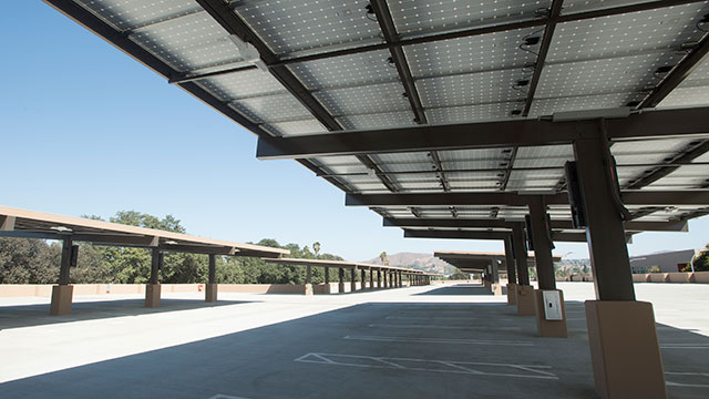 Solar panels on the third floor of Parking Structure 2 generate an estimated 8 percent of electricity to the campus.