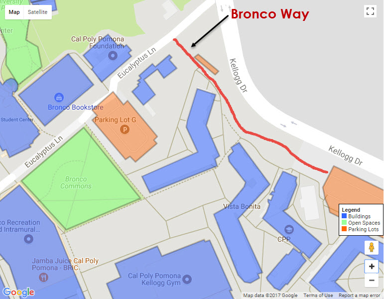 Campus Map shows Bronco Way highlighted in red.
