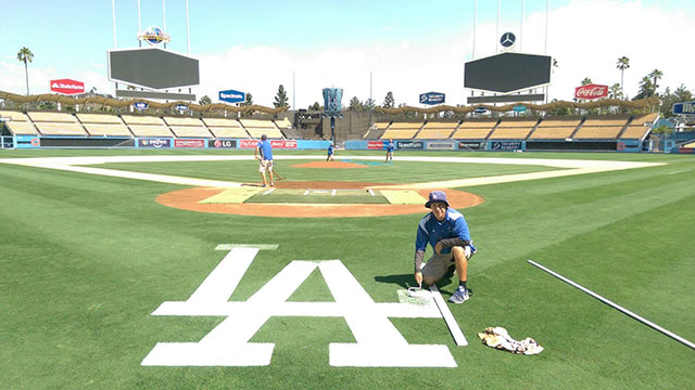 Oscar Del Real, second-year graduate student in plant science now works for the Dodgers.