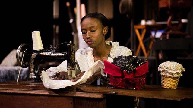 "Cal Poly Pomona Theatre student Mary Hill portrays seamstress Esther in ""Intimate Apparel."""