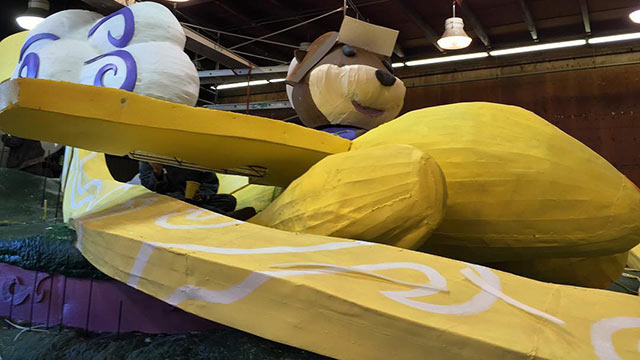Ollie the Otter is getting ready for take off - the team works on some finishing touches before Deco Week.