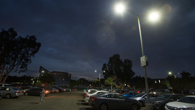 New energy-efficient LED light fixtures installed in the F series parking lots will save the university nearly $12,000 annually.