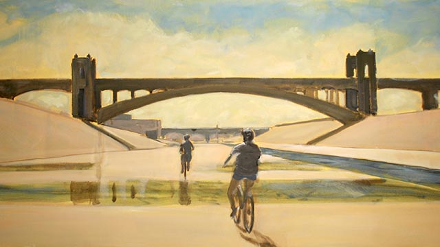 The Approach, oil on canvas painting, by Richard Willson, of two bicyclists approaching the Fourth Street Viaduct from the Los Angeles River channel