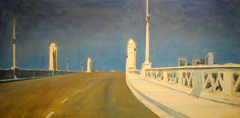 """The Ascent, an oil on canvas painting by Richard Willson, on display in the Huntley Gallery exhibit """"Positively Fourth Street"""""""