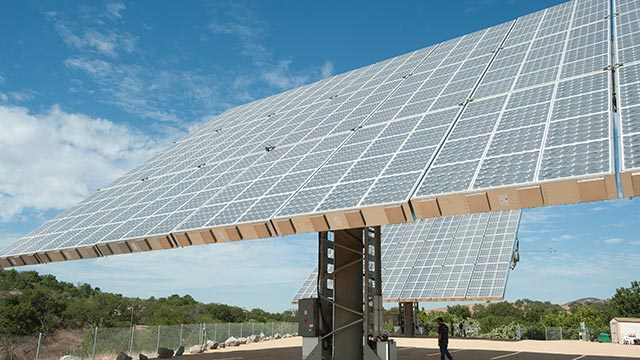 The solar panel array at the John T. Lyle Center for Regenerative Studies is part of the university's efforts in sustainability.