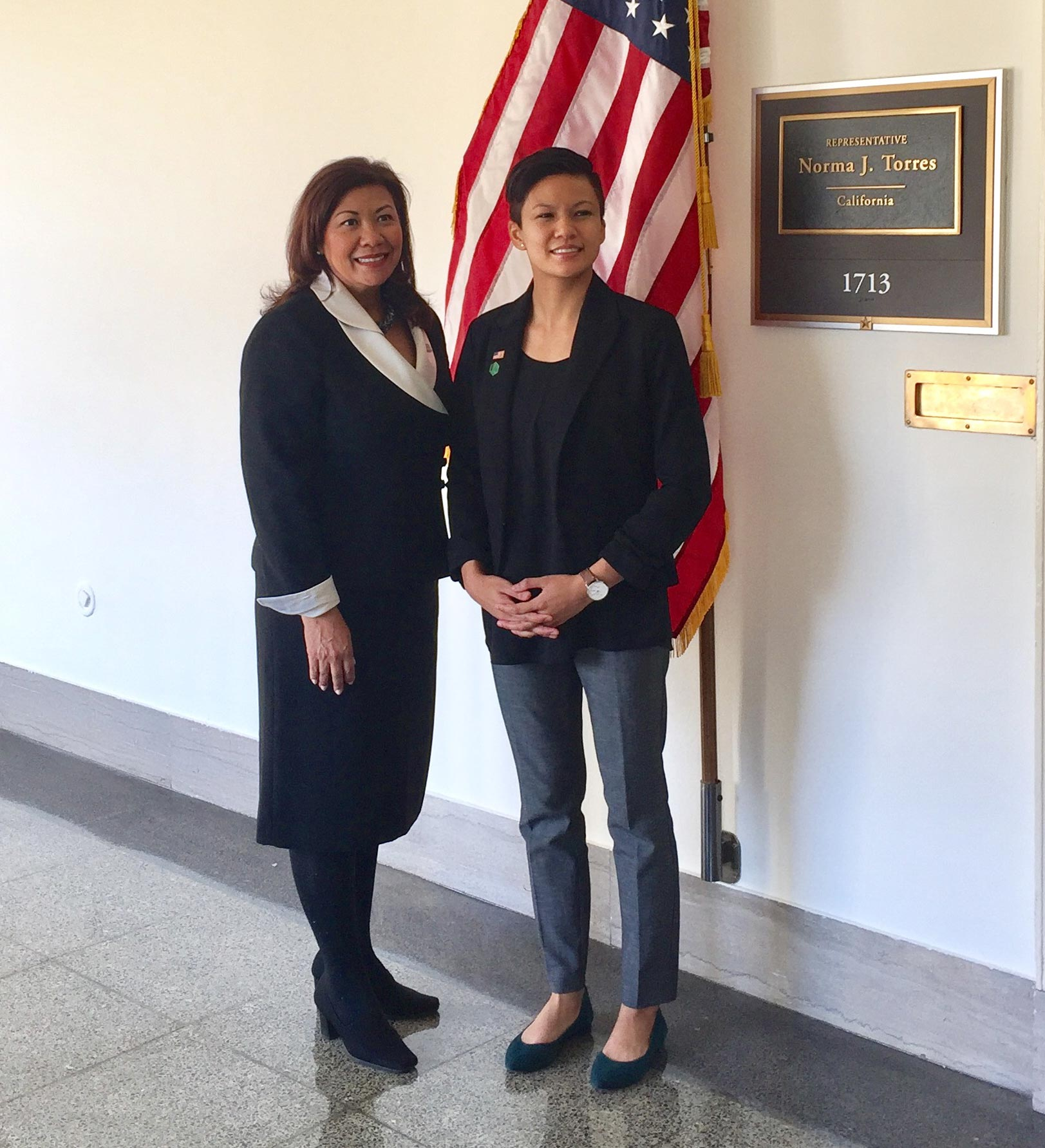 Marya Chan, '17 food and nutrition major, with Congresswoman Norma J. Torres who invited Chan to hear President Donald Trump's first State of the Union address as her guest.