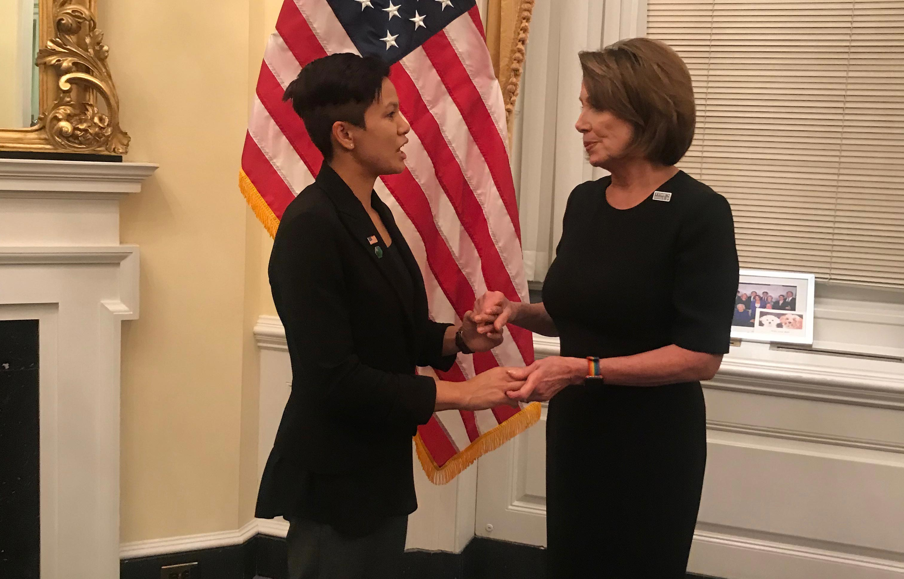 Mary Chan, '17 food and nutrition, meets Democratic Minority Leader Nancy Pelosi before the State of the Union address.