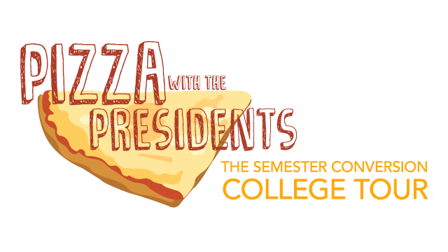 Each of the university's eight colleges will host their own Pizza with the Presidents event Tuesday, Feb. 13 as part of The Semester Conversion College Tour.