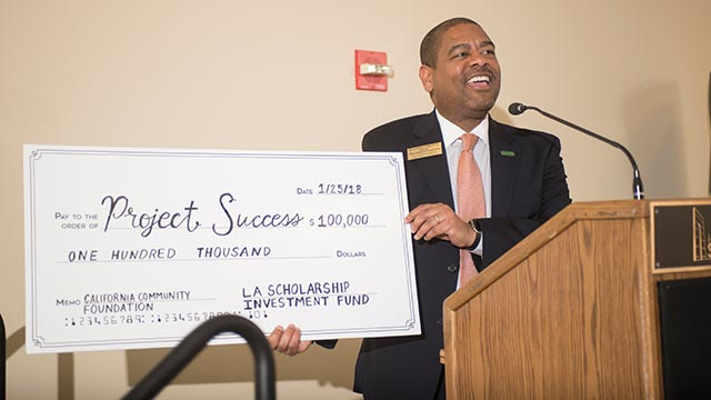 Project Success, a program that helps first-year male Latino and African-American students thrive academically and socially, has received a $100,000 grant from the California Community Foundation.