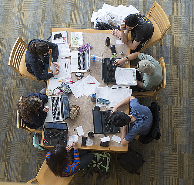 Students study for their finals at the University Library at Cal Poly Pomona.