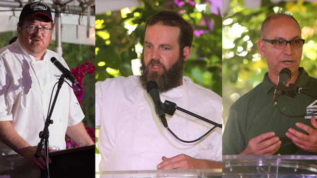 Travis Flood of Alexander's Steakhouse in Pasadena, Christopher Gendreau of Chase's La Verne, and the Cal Poly Pomona Foundation's Arnold Zavalza are creating and preparing the menu for Cal Poly Pomona's 4th Annual Farm to Table Dinner.