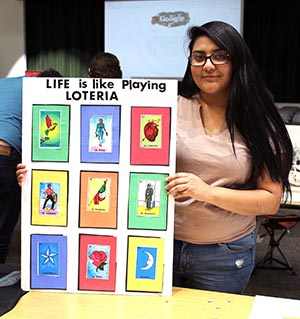 Natalie Escobedo's research explored immigration and intercultural identity through a game she called Loteria.