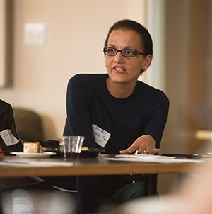 Engineering Assistant Professor Saeideh Fallah Fini discusses leadership during the reception.
