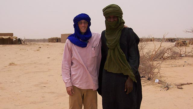 Prof. Thomas Fenn with local Tuareg guide in the Southern Sahara, outside of Agadez in Central Nigeria.