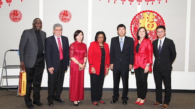 President Soraya M. Coley, Provost Sylvia A. Alva, Ms. Lisa Xue, Director of the Global Education Institute with distinguished guests.