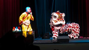 Traditional Lion Dance Performance by the East Wind Lion Dance Troupe.