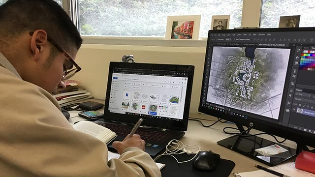 CPPLA student Pablo Hinojosa working on his collaborative studio project in LA 402L, Advanced Landscape Architecture Methods, with teammates Dawn Wang, Patcricio Yrizar and Kenneth Rodgers