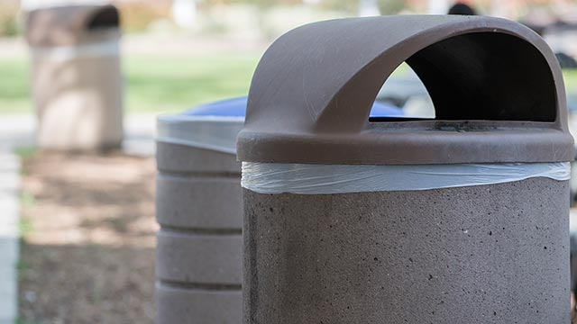 The sustainable trash can liners, which are made from recycled farm irrigation tubing, are being used in 300 outdoor trash cans across the campus.