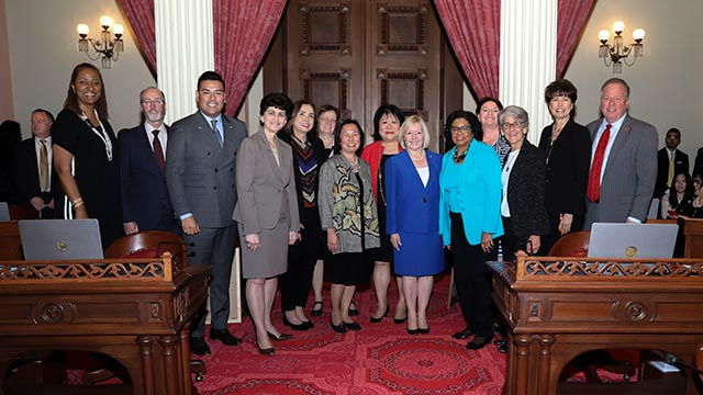 Pictured Left to Right: California State Senator Holly Mitchell (D-30), California State Senator Steve Glazer (D-7), California State Senator Ricardo Lara (D-33), SJSU President Mary Papazian, San Diego State President-Designate Adela de la Torre, Humboldt State President Lisa Rossbacher, Sonoma State President Judy Sakaki, CSU Stanislaus President Ellen Junn, CSU Bakersfield President-Designate Lynette Zelezny, Cal Poly Pomona President Soraya Coley, President pro tempore of the California State Senate Toni Atkins (D-39) California State Senator Hanna-Beth Jackson (D-19) California State Senator Connie Leyva (D-20) California State Senator Bill Dodd (D-3)