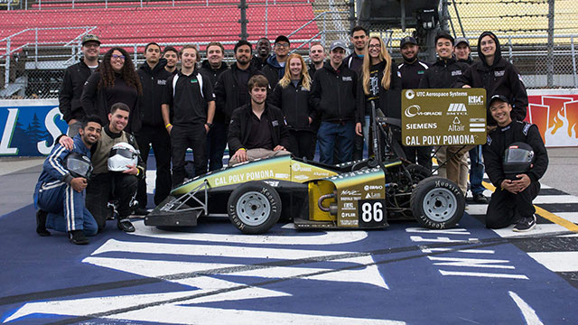 The Cal Poly Pomona Forumula SAE racing team in Michigan.