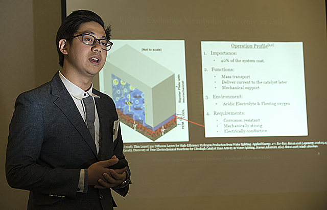 Ho Lun Chan explains his research into electrochemical evaluation of aluminum foams for proton exchange membrane electrolyzer cells during the Ronald E. McNair Scholar Undergraduate Research Symposium at Cal Poly Pomona.