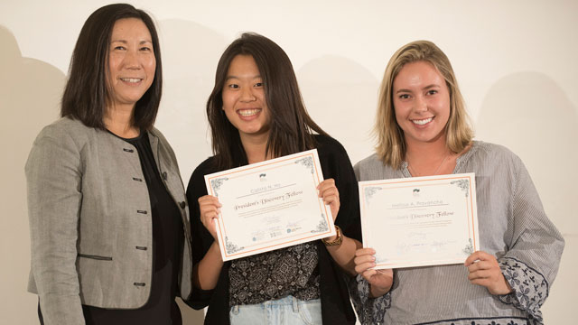 Calista Ho (center) and Melissa Provancha (right) are two of a three-member student team that will tap into a President's Discovery Fellowship to conduct research focused on improving access to healthier food in Pomona. Also pictured is Winny Dong, director of the Office of Undergraduate Research.