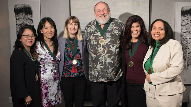 The Center for Community Engagement honored recipients of its Reach Beyond Awards April 26, which included (from left to right) Win Gunadi, Dr. Joanne Sohn, Casey McCann Sidwell, Mike Brown, Paula Weston Solano and Fran Robertson.
