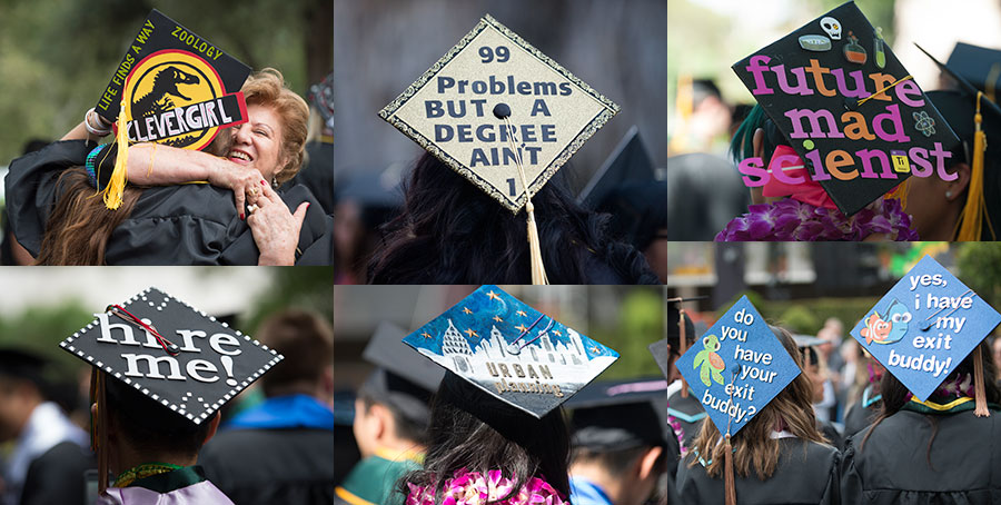 Graduates decorate their Mortarboards for Commencement.