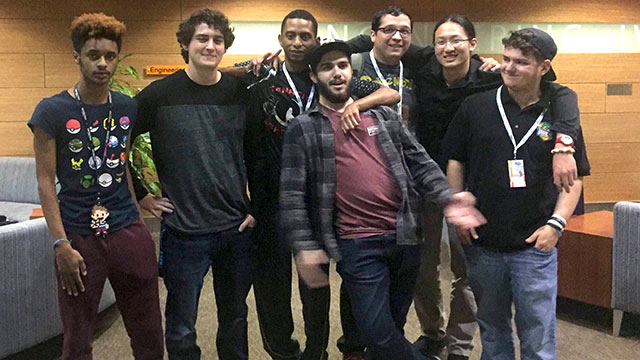 Cal Poly Pomona Smash 4 team after their first place regionals finish over UCI. From left: Alan Goodman, Lou Rios, Quinton Goodman, Jordan Rodgers-Slayton, Enrique Garcia, Ken Huang and Samuel Weinger.