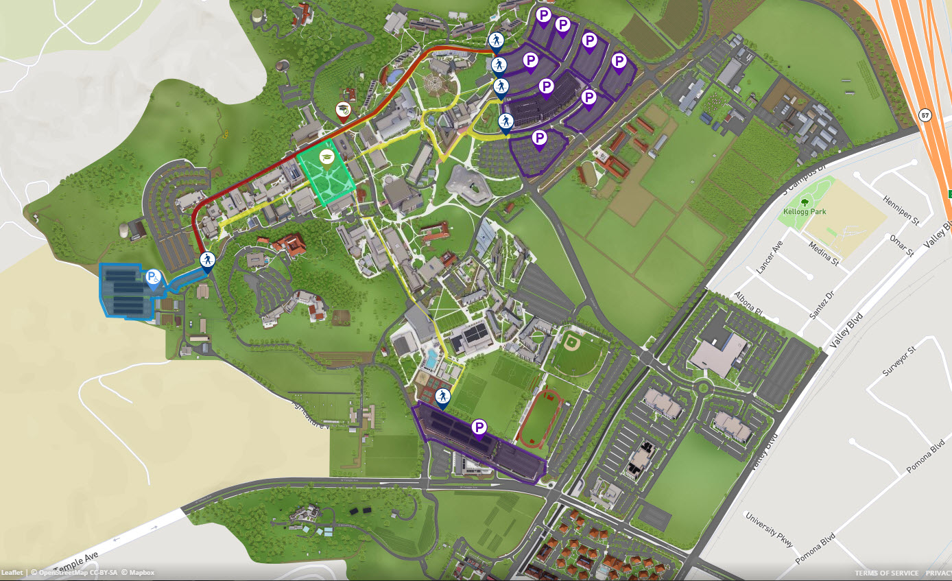 Parking for Commencement is highlighted purple and blue.