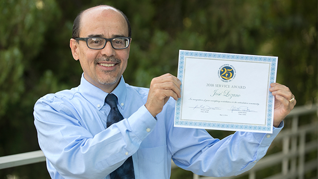 José Lozano, Cal Poly Pomona's articulation officer, received the 2018 California Intersegmental Articulation Council Service Award for the southern region.