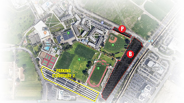 The closure of Parking Lots B and P will allow for the installation of a gas pipeline to the Student Housing Replacement Project.