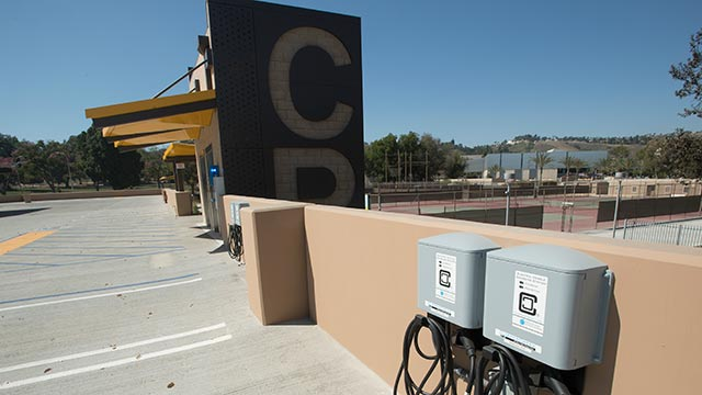 In addition to solar panels, Parking Structure 2 also features 24 charging stations for electric vehicles.