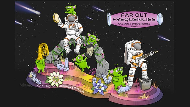 "The Cal Poly Universities' float, ""Far Out Frequencies,"" for the 2019 Rose Parade."