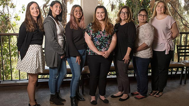 Scholarship recipients (from left to right) Hallie Mota, Madison Tonthat, Elizabeth Mason and Rebecca Plummer with Assistant Professor Joanne M. Boxtel, ITEP director; Professor Christina Chávez-Reyes, chair of the liberal studies department; and Assistant Professor Heath Wizikowski, director of Project SEEDS.