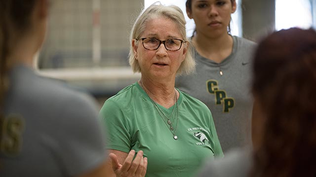 Rosie Wegrich, head coach of the volleyball team.