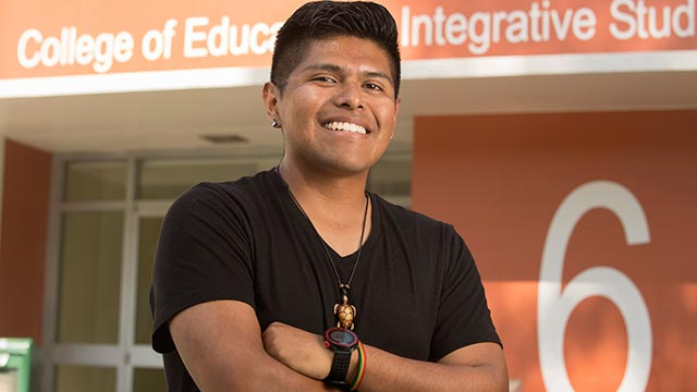 Edmundo Perez, an early childhood education student, was one of 32 college juniors selected to participate in a selective program that prepares men of color for doctoral studies or jobs in research.