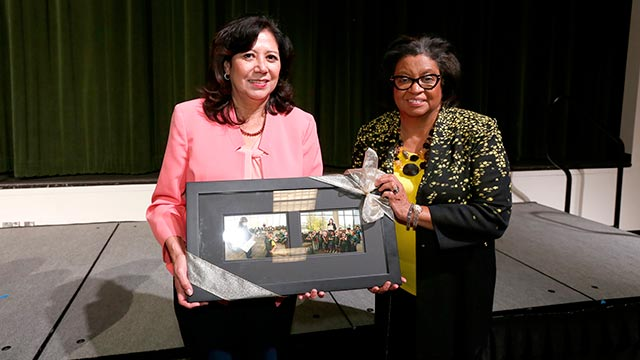President Coley and Hilda Solis during the the annual Hilda L. Solis Scholarship Dinner & Reception.