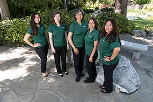 Left to right: Shannen Sharma, computer engineering student; Dr. Kristina Rigden, director of outreach programs and Women in Engineering; Dr. Cordelia Ontiveros, chemical & materials engineering professor; Teresa Rodriguez, civil engineering student; Nicole Gutzke, outreach programs liaison and Women in Engineering program coordinator.