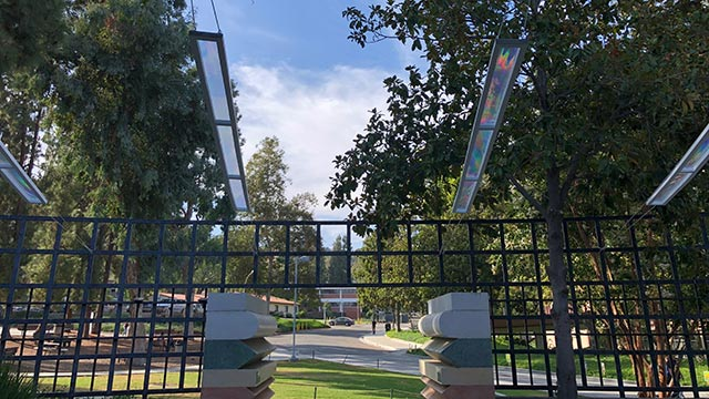 Outdoor installation, Spectral Shift, in Sculpture Garden of the Kellogg Gallery. (Courtesy of Kellogg University Art Gallery, 2018).